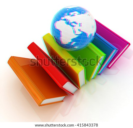 Colorful books and earth on a white background. 3D illustration. Anaglyph. View with red/cyan glasses to see in 3D. - stock photo