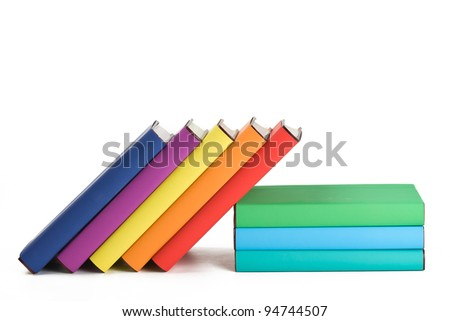 Colorful books and white background.