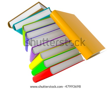 colorful books in a tower formation
