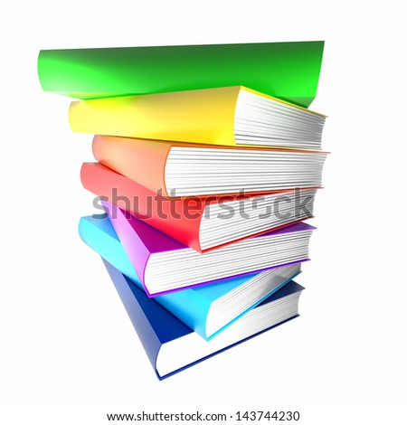 colorful books. isolated on white. - stock photo