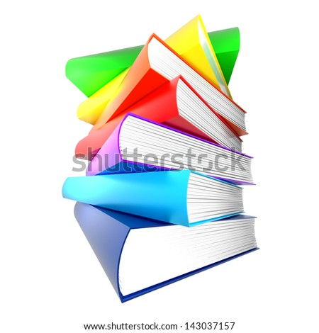 colorful books. isolated on white. no shadows.