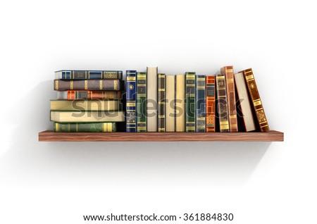 Colorful books on the wood shelf. - stock photo