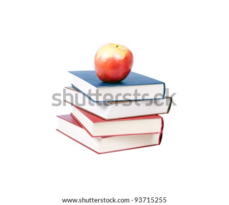 Colorful books on top of one another apple.