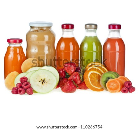 Colorful Bottles juice and puree with fresh berries and fruits isolated on white - stock photo