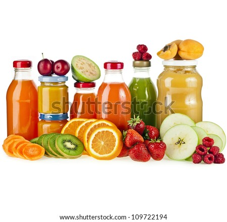Colorful Bottles juice with fresh berries and fruits isolated on white - stock photo