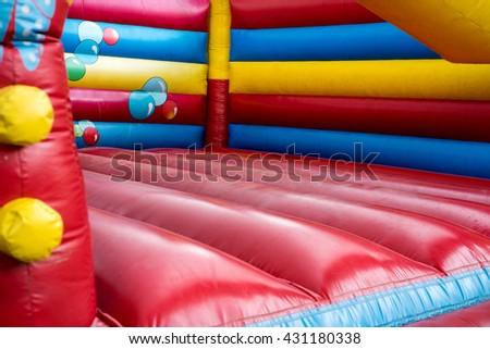colorful bouncy castle for children / bouncy castle - stock photo