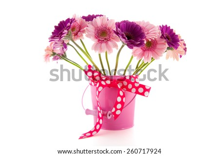 Colorful bouquet Gerber flowers isolated over white background - stock photo