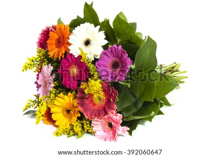 Colorful bouquet  isolated over white