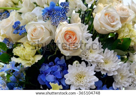 Colorful bouquet of fresh flowers - wedding ceremony