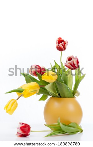 Colorful bouquet tulips in yellow vase on white background