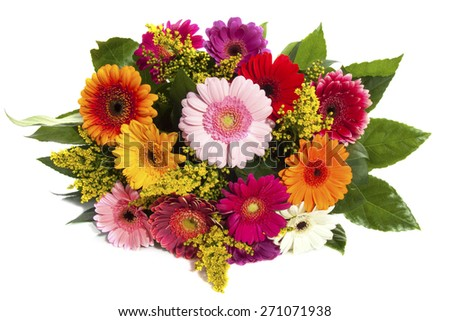 Colorful bouquet with gerbera's isolated over white - stock photo