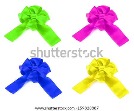 Colorful bows isolated on white