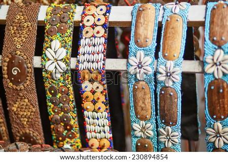 Colorful bracelets on market in Ubud, Bali, Indonesia  - stock photo