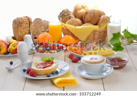 Colorful breakfast with cappuccino