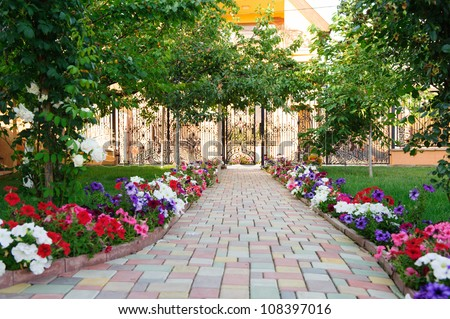 Colorful brick footpath with flowers at the backyard