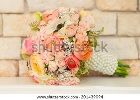 colorful bridal bouquet - stock photo
