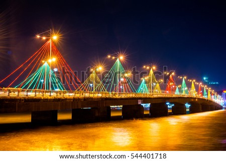 Colorful bridge in Nha Trang night view.