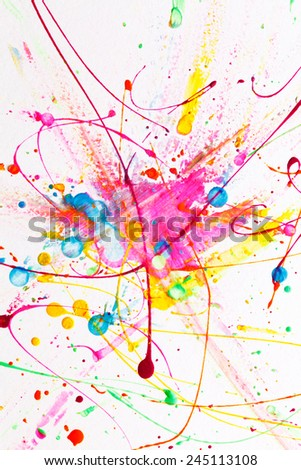 Colorful bright ink splashes - stock photo