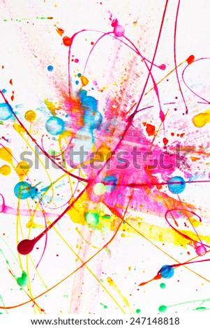 Colorful bright ink splashes - stock photo