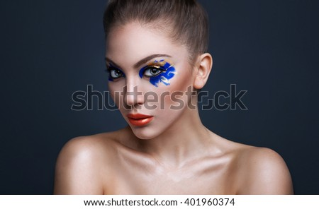 Colorful bright make up of beautiful young woman. Woman beauty concept.  - stock photo