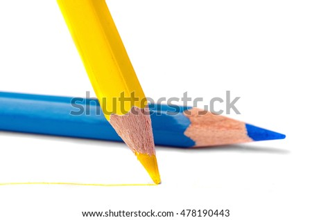 Colorful bright wooden pencils on white background