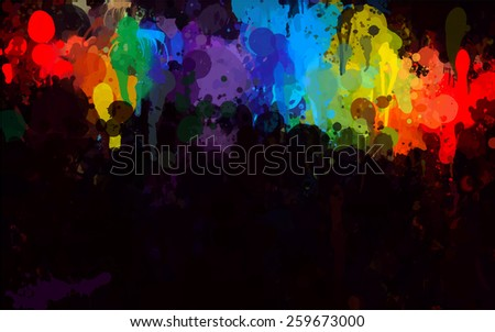 Colorful brush strokes on black background. Raster version - stock photo