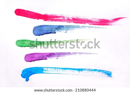 Colorful brush strokes painted, on white background - stock photo