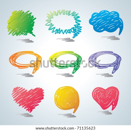 Colorful bubbles for speech. Doodle background. - stock photo