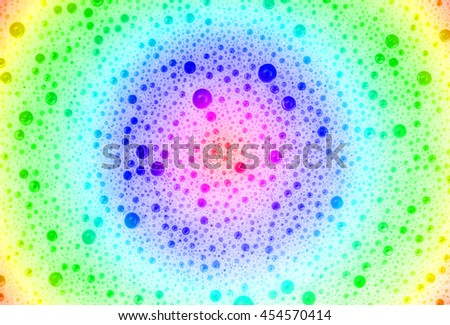 colorful bubbles on water background.