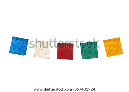 Colorful buddhism flags isolated over white background - stock photo