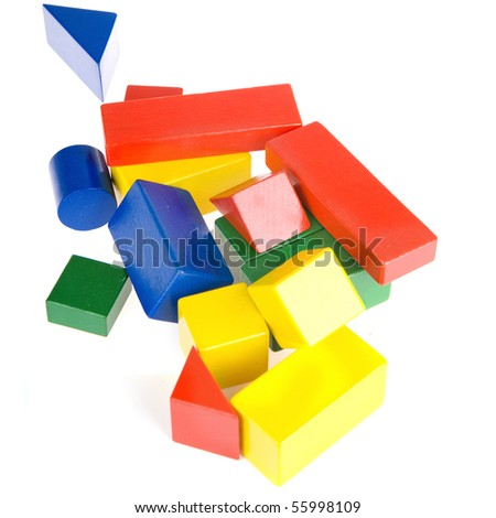 colorful building blocks on a white background