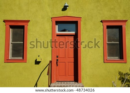 colorful building facade in the Old Barrio, Tucson - stock photo