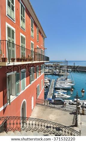 colorful building in Bastia - Corsica  - stock photo