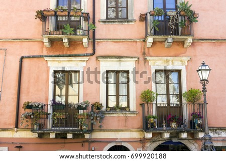 Colorful building in Taormina, Italy