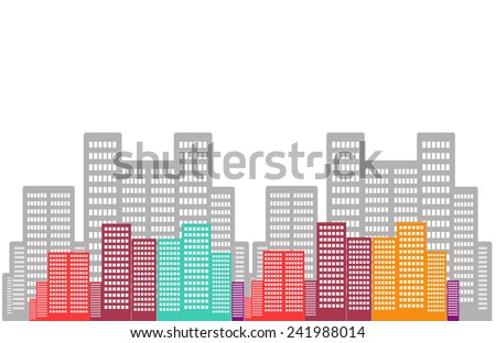Colorful building on isolated background - stock photo