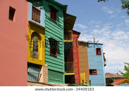 Colorful buildings at La Boca, Buenos Aires Argentina - stock photo
