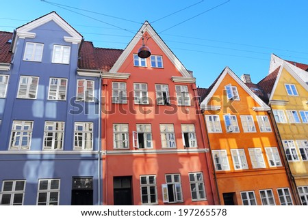 Colorful buildings at one of the streets in Copenhagen - stock photo