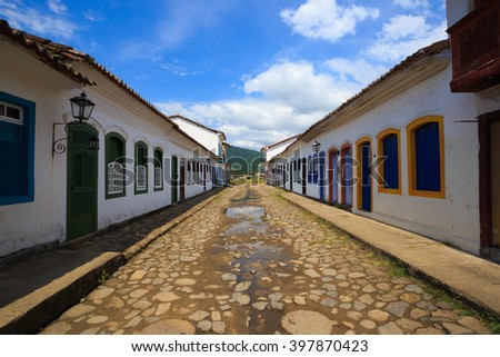 colorful buildings at the streets of historical center of Parati, Brazil