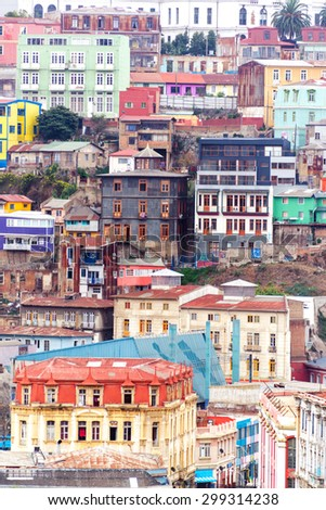 Colorful buildings climbing up a hill in Valparaiso, Chile - stock photo
