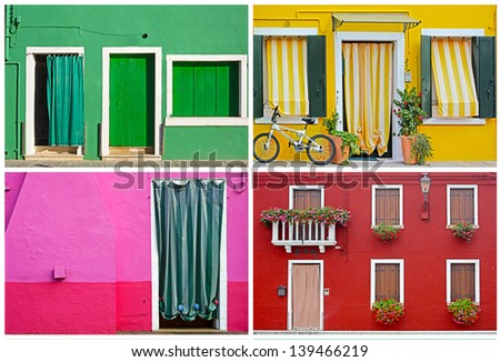 Colorful buildings in Burano island sunny street , set
