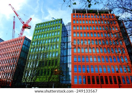 Colorful buildings in central London, England