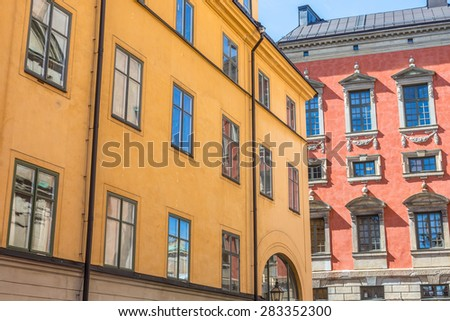 Colorful Buildings in Gamla Stan Stockholm  - stock photo