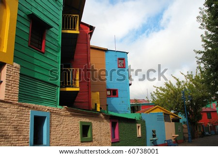 Colorful Buildings in La Boca Neighborhood of Buenos Aires - stock photo
