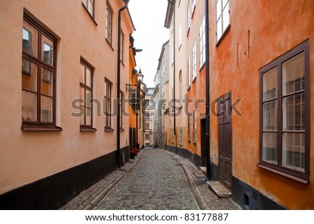 Colorful buildings in the old town of Stockholm, Sweden