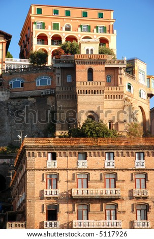 Colorful buildings of italian city - stock photo