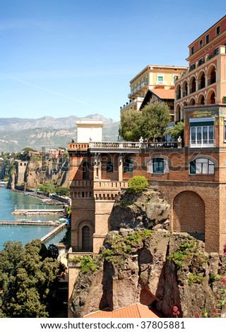 Colorful buildings of italian town Sorrento - stock photo