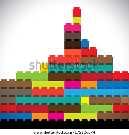 colorful buildings of metropolitan city skyline built with blocks. This abstract concept graphic represents modern buildings, office towers, skyscrapers & tall high-rise structures on white background - stock photo