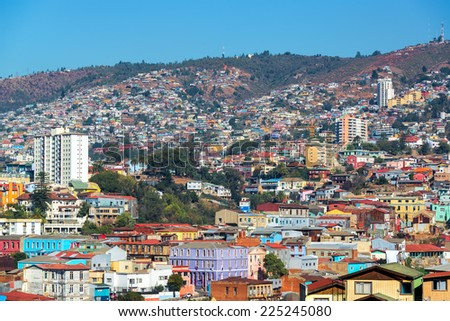Colorful buildings on the hills of the UNESCO World Heritage city of Valparaiso, Chile - stock photo