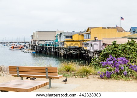 Colorful buildings on the old boardwalk in Monterey California