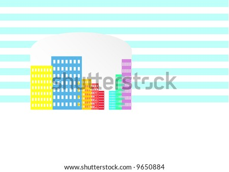 colorful buildings seen through striped wall - stock photo